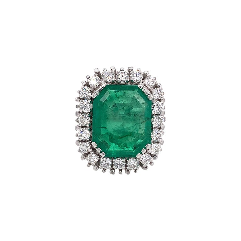 GIA Certified Antique Style Diamond & Emerald Cocktail Ring For Sale