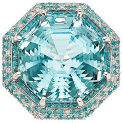 GIA Zertifizierter Aquamarin Paraiba Diamant Gold Ring