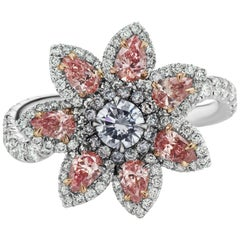 GIA Certified Argyle Fancy Pink and Fancy Light Blue Diamond Flower Ring/Pendant