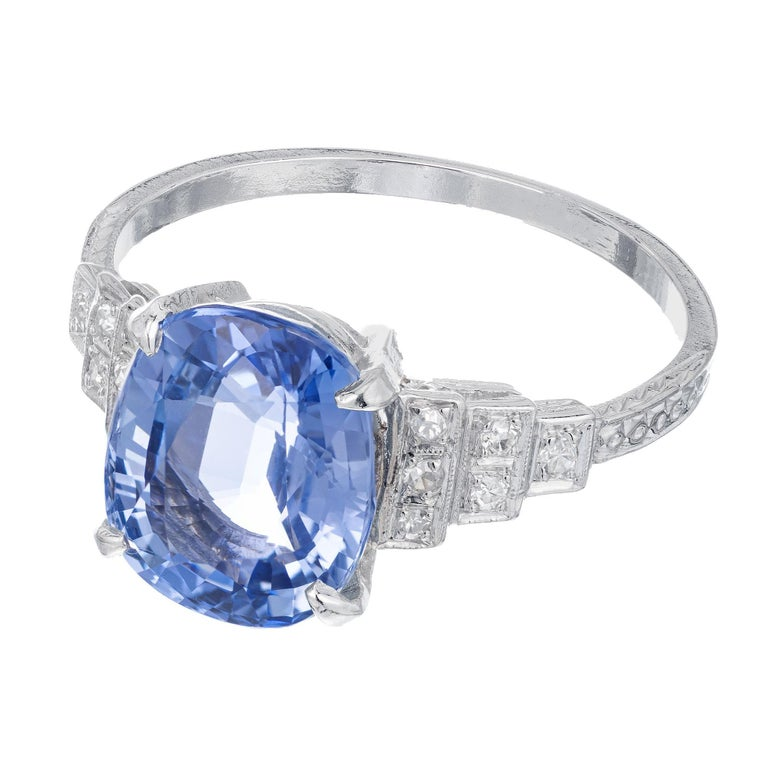 Oval Cut GIA Certified Art Deco 4.51 Carat Sapphire Diamond Platinum Engagement Ring For Sale