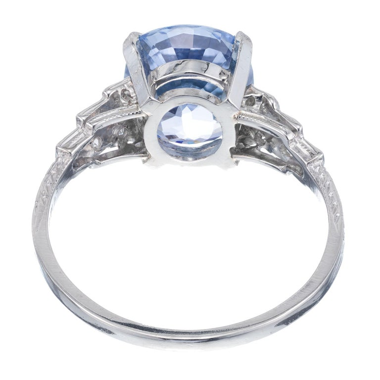 Women's GIA Certified Art Deco 4.51 Carat Sapphire Diamond Platinum Engagement Ring For Sale