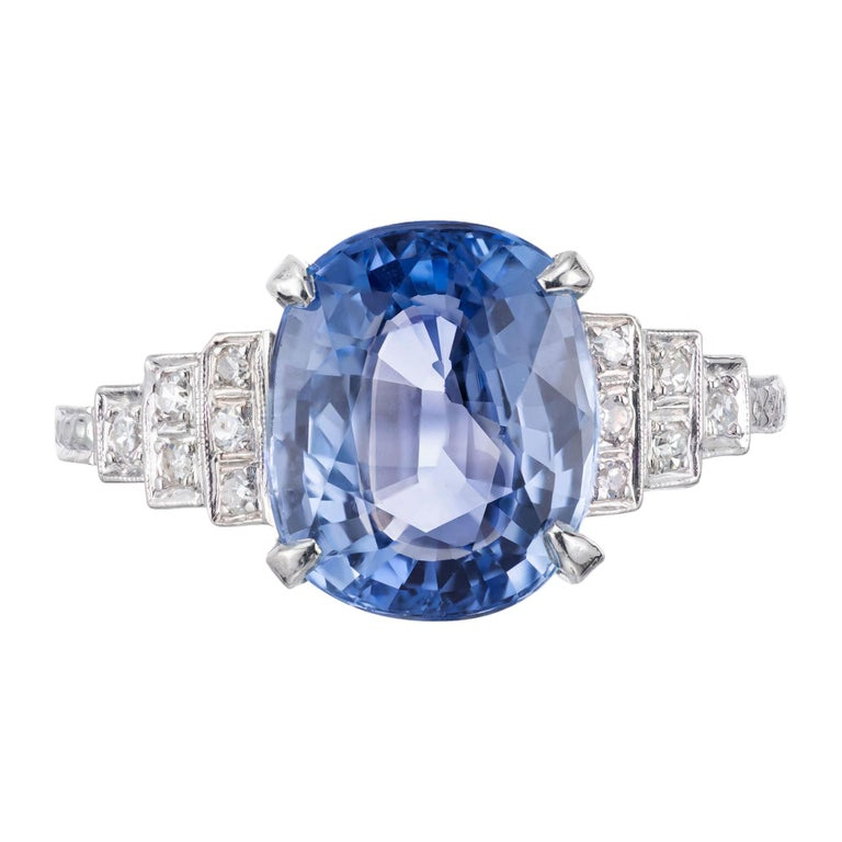 GIA Certified Art Deco 4.51 Carat Sapphire Diamond Platinum Engagement Ring For Sale