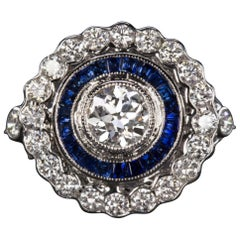 GIA Certified Art Deco Blue Sapphire Diamond Ring