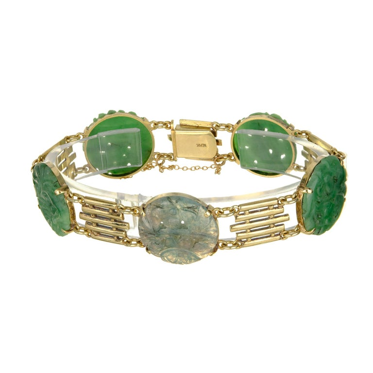 GIA Certified Art Deco Carved Natural Jadeite Jade Gold Bracelet In Excellent Condition For Sale In Stamford, CT
