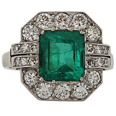 GIA Certified Art Deco Colombian Emerald and Diamond Ring