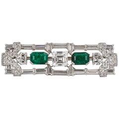 GIA Certified Art Deco Diamond and Emerald Brooch