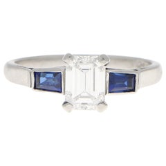 GIA Certified Art Deco Diamond and Sapphire Engagement Ring Set in Platinum