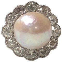 GIA Certified Art Deco Light Pinkish Brown Button Mabe Pearl and Diamond Ring