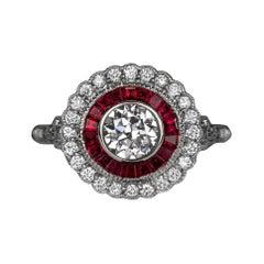 GIA Certified Art Deco Old European Rubies Diamond Double Prong Ring