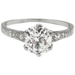 GIA Certified Art Deco Old Mine Cut Diamond Platinum Engagement Ring