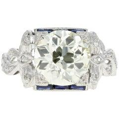 GIA Certified Art Deco Platinum 2.78 Carat Old European Cut Diamond Ribbon Ring