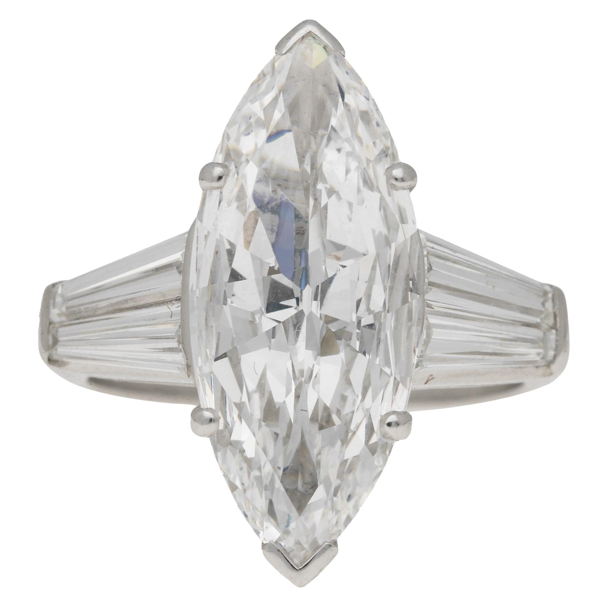 GIA Certified Art Deco Style 4.13ct Internally Flawless Marquise Diamond Ring