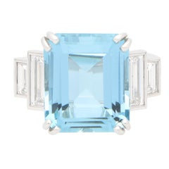 GIA Certified Art Deco Style Aquamarine and Diamond Cocktail Ring in Platinum