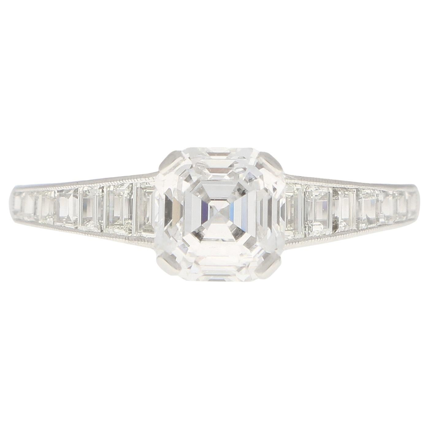 GIA Certified Art Deco Style Asscher Cut Diamond Engagement Ring in Platinum