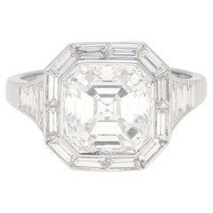 GIA Certified Art Deco Style Asscher Cut Diamond Engagement Ring Set in Platinum
