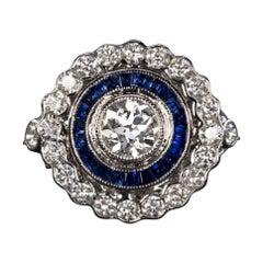 GIA Certified Art Deco Style Blue Sapphire Diamond Ring
