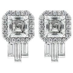 GIA Certified Artdeco Asscher Diamond Studs