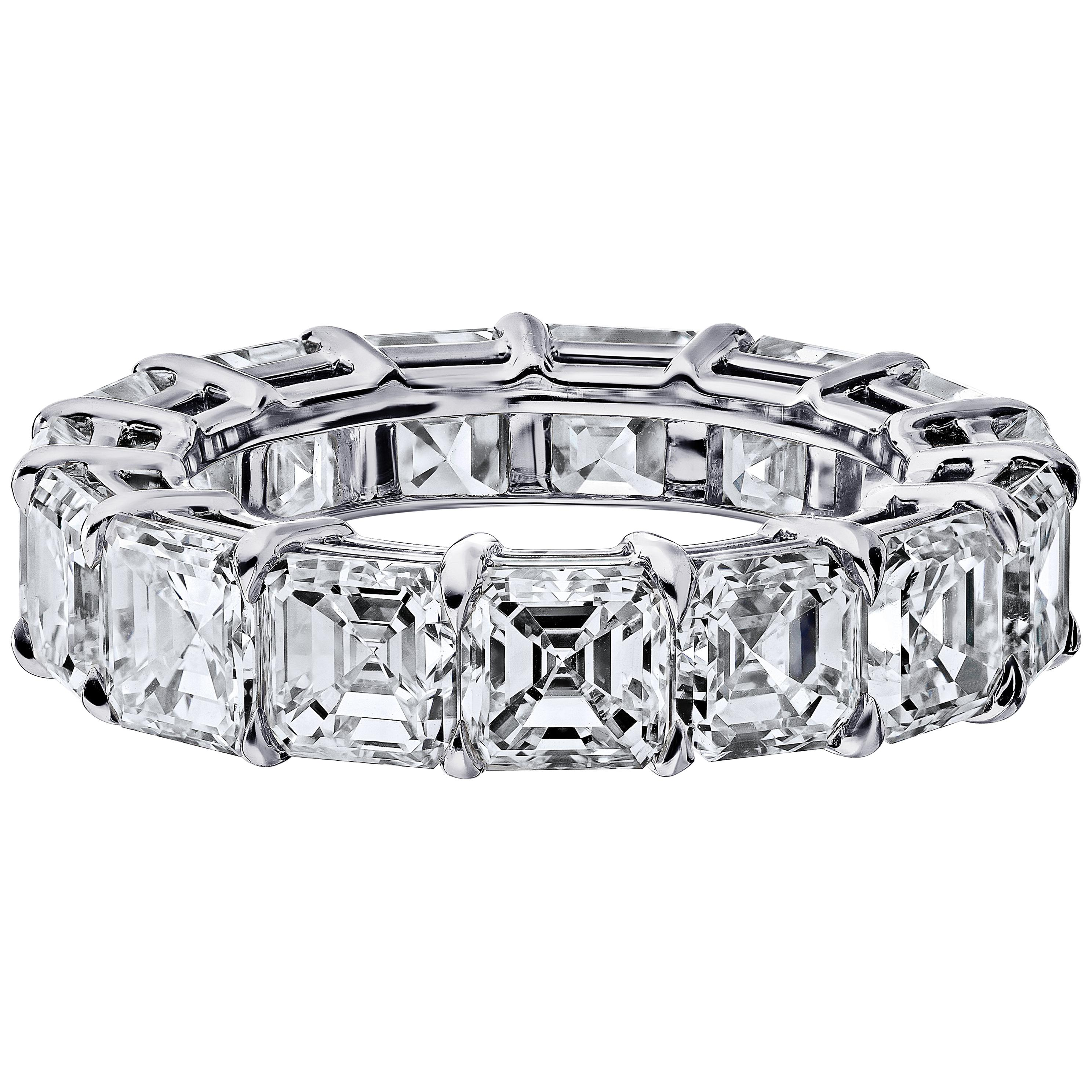 GIA Certified Asher Cut 6.50 Carat Diamond Ring Platinum Eternity Band