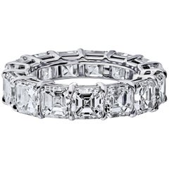 GIA Certified Asher Cut 6.50 Carat Diamond Ring Platinum Eternity Band