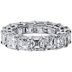 GIA Certified Asher Cut 8.00 Carat Diamond Ring Platinum Eternity Band