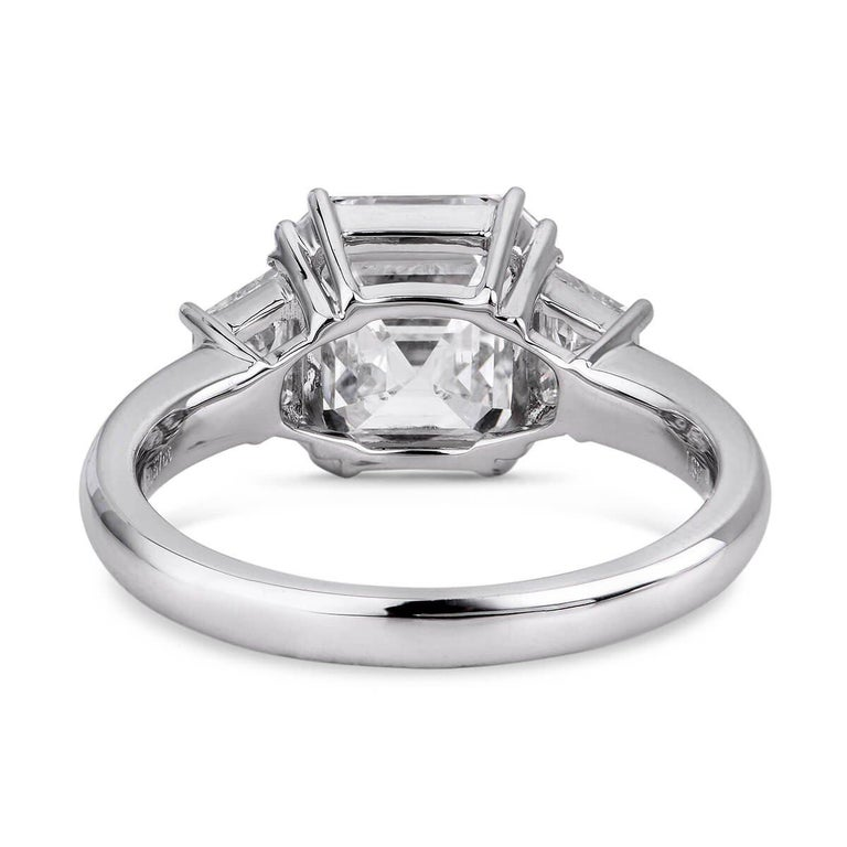 Modern GIA Certified Asher Cut Diamond Ring 3.58 Carat For Sale