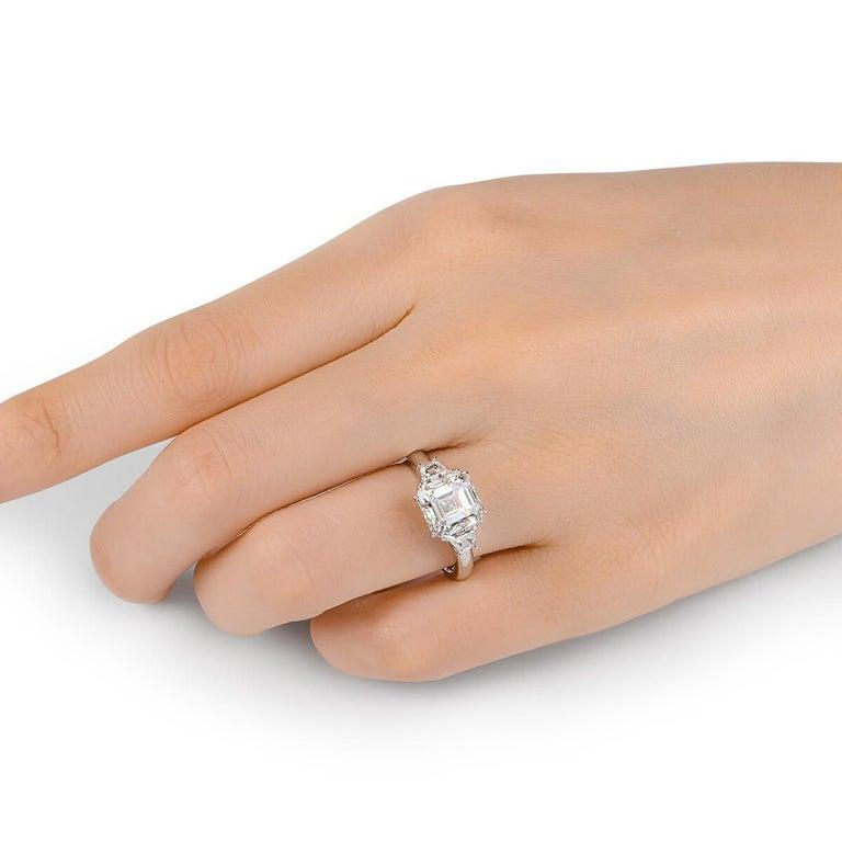 Women's or Men's GIA Certified Asher Cut Diamond Ring 3.58 Carat For Sale