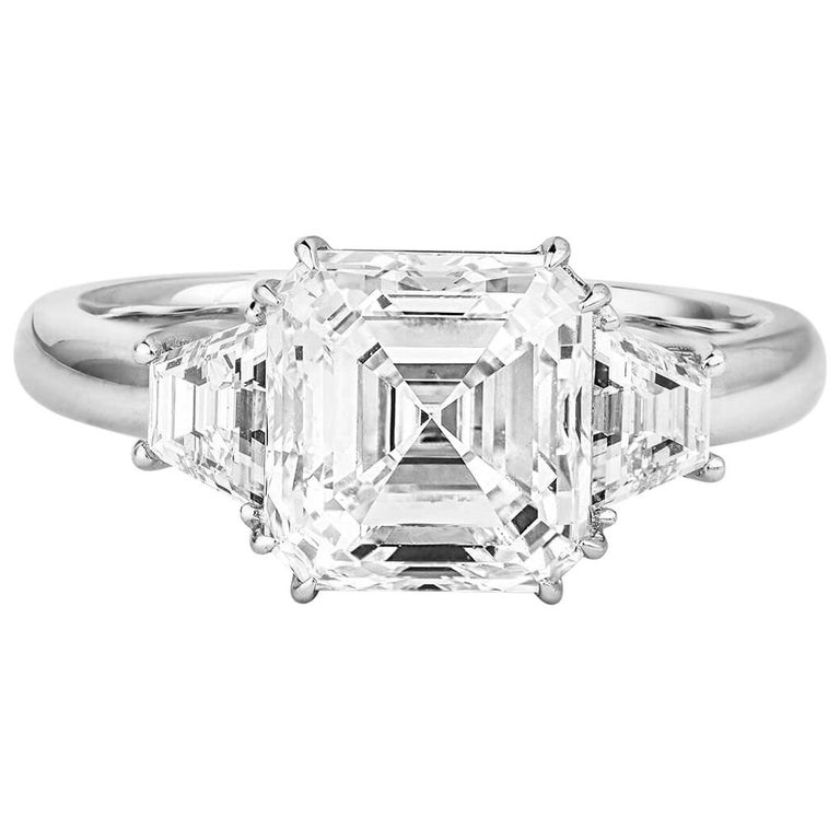 Gia Certified Asher Cut Diamond Ring 3 58 Carat For Sale