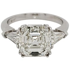 GIA Certified Asscher Cut 4.26 Carat Three-Stone Ring