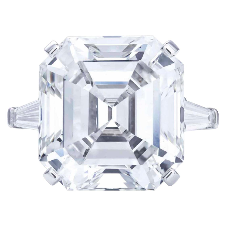 GIA Certified 4 Carat Asscher Cut Diamond Ring