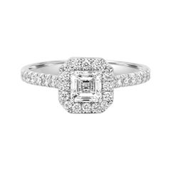 GIA Certified Asscher Cut Diamond Halo 1.25 Carat TW Gold Engagement Bridal Ring