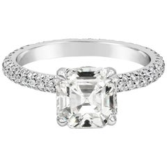 GIA Certified Asscher Cut Diamond Micro-Pave Engagement Ring