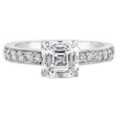 GIA Certified Asscher Cut Diamond Pave Engagement Ring