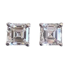 GIA Certified Asscher Cut Diamond Stud Earrings