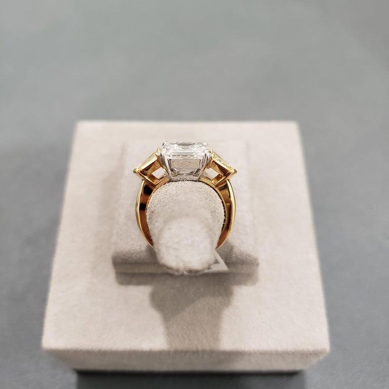 Roman Malakov GIA Certified Asscher Cut Diamond Three-Stone Engagement Ring For Sale 4