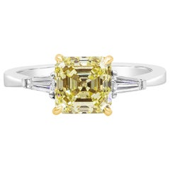 Roman Malakov, GIA Certified Yellow Diamond Three-Stone Engagement Ring
