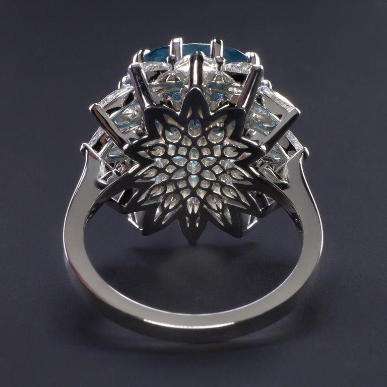 Modern GIA Certified Authentic Paraiba Tourmaline Cushion Cut Diamond Ring