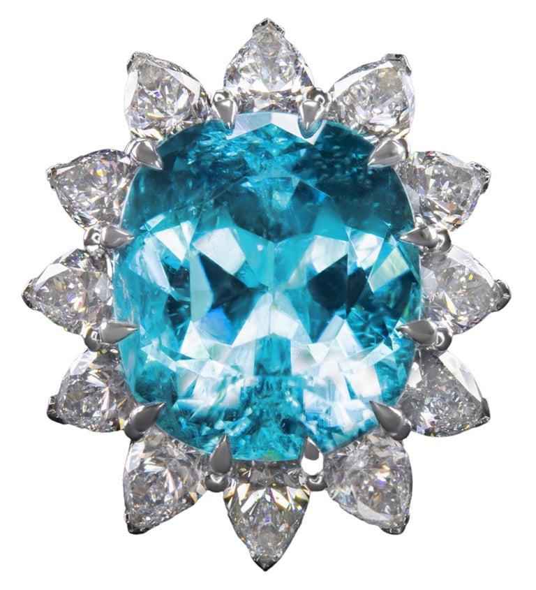 Pear Cut GIA Certified Authentic Paraiba Tourmaline Cushion Cut Diamond Ring
