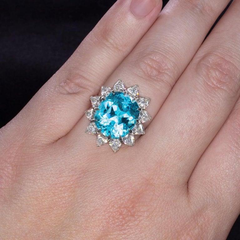 Women's or Men's GIA Certified Authentic Paraiba Tourmaline Cushion Cut Diamond Ring