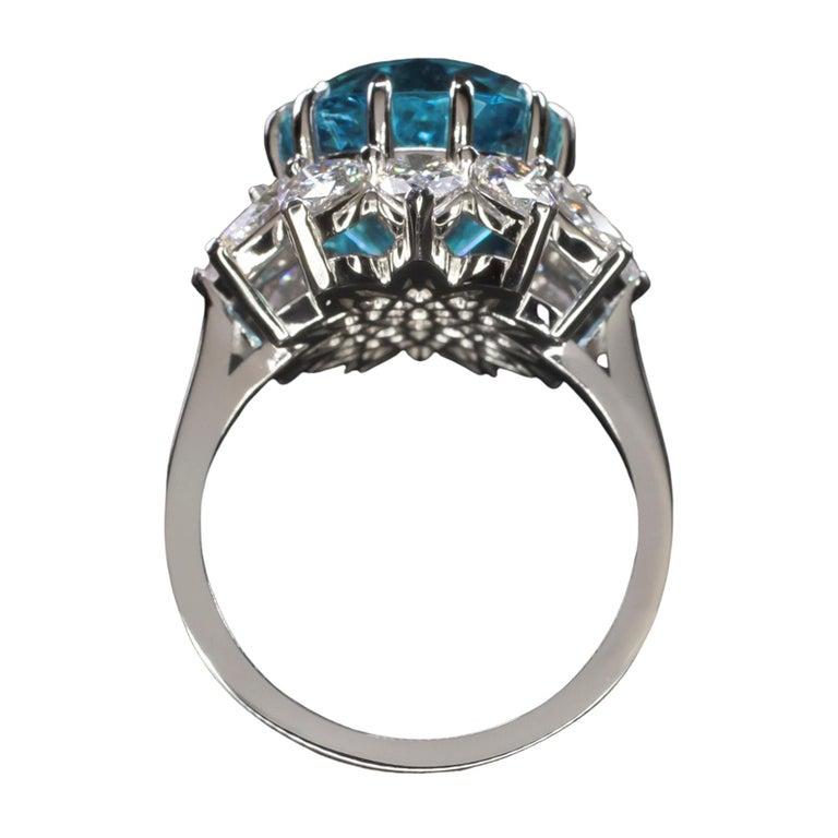 GIA Certified Authentic Paraiba Tourmaline Cushion Cut Diamond Ring 1