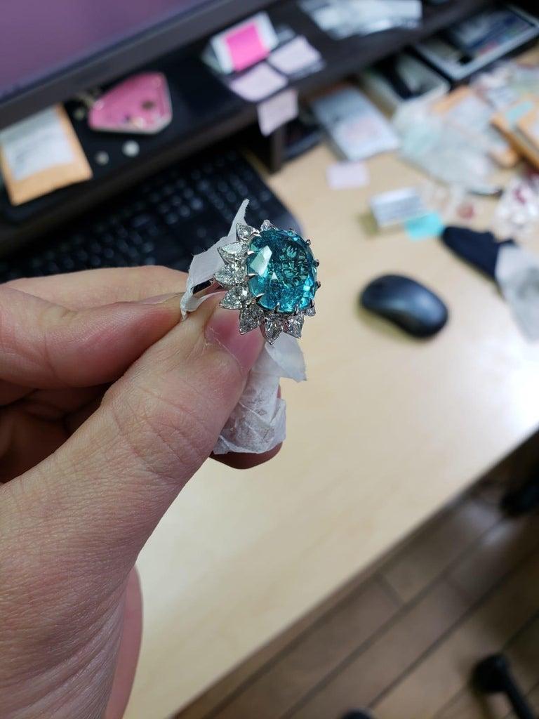 GIA Certified Authentic Paraiba Tourmaline Cushion Cut Diamond Ring 2
