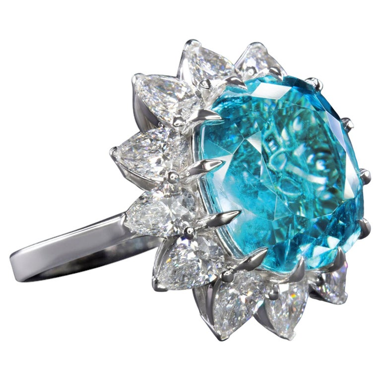 GIA Certified Authentic Paraiba Tourmaline Cushion Cut Diamond Ring