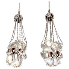 GIA Certified Baroque Pearls Catseye Ocotopus Diamond Dangle Earrings