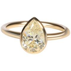 GIA Certified Bezel Set Diamond Solitaire Ring in 14 Karat Yellow Gold L I2 1.52