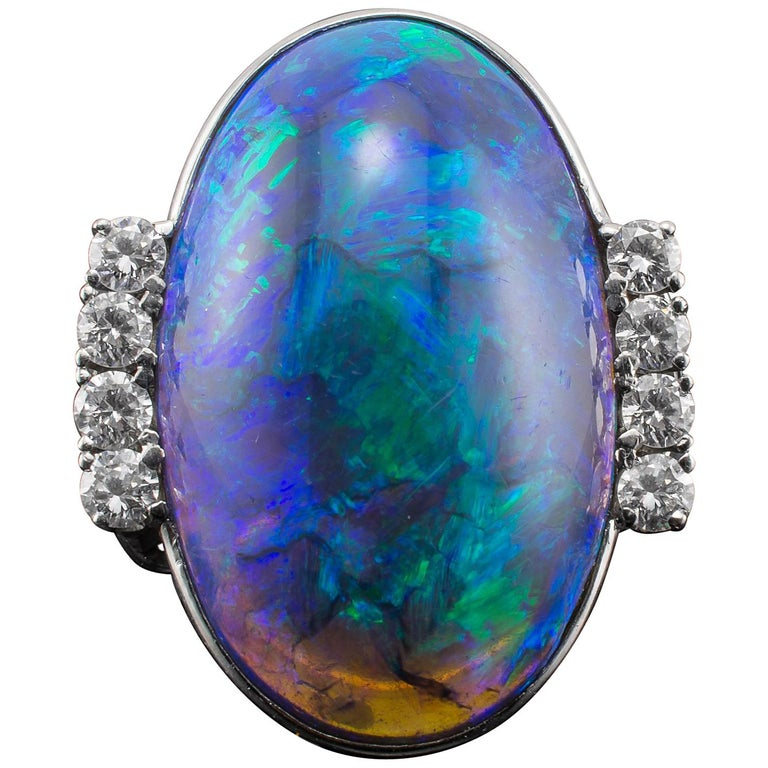 Gia Certified Black Opal Diamond Ring For Sale At 1stdibs