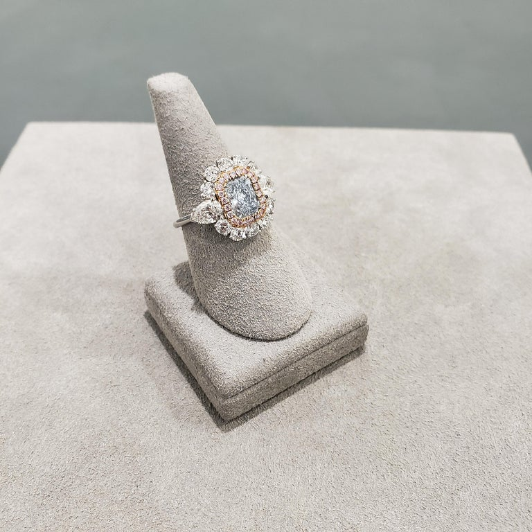 Radiant Cut GIA Certified Blue Diamond Halo Engagement Ring For Sale
