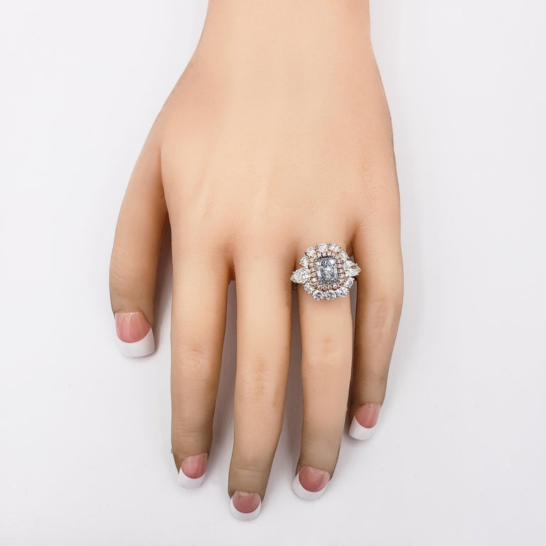 GIA Certified Blue Diamond Halo Engagement Ring In New Condition For Sale In New York, NY