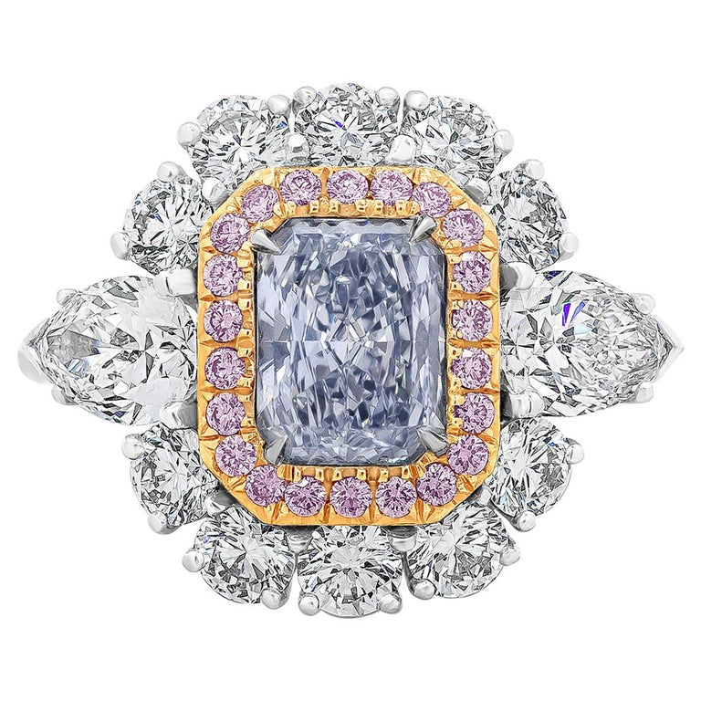 GIA Certified Blue Diamond Halo Engagement Ring For Sale