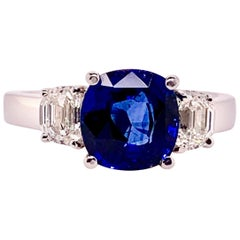 GIA Certified Blue Sapphire and Diamond 3-Stone Ring