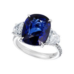 GIA Certified Blue Sapphire and Diamond Cocktail Ring