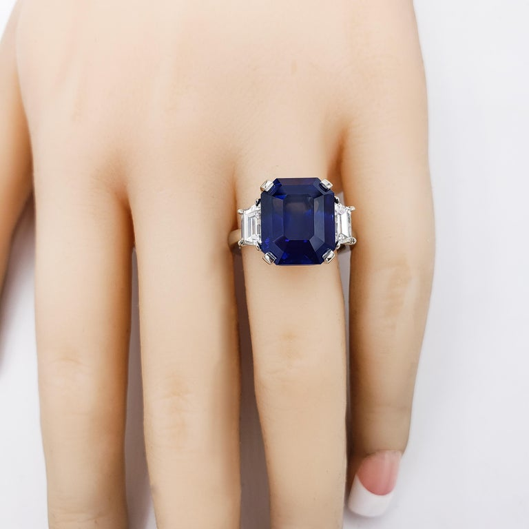Women's GIA Certified Blue Sapphire and Diamond Three-Stone Engagement Ring For Sale
